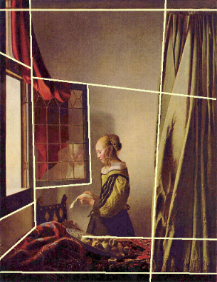 girl reading a letter at an open window reading a letter by an open window 2 johannes 21954 | linesc